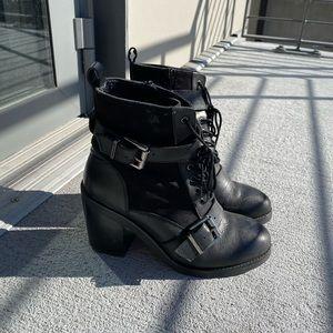 Office heeled moto boot